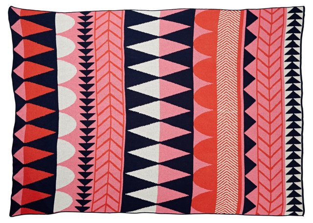 Mixed Motif Cotton-Blended Throw, Pink