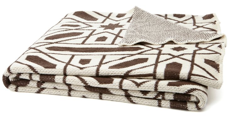 Alhambra Cotton-Blended Throw, Coffee