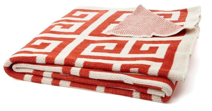 Greek Key Cotton-Blend Throw, Paprika