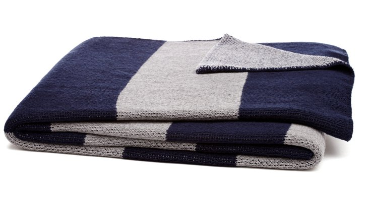 Striped Cotton-Blended Throw, Navy/Gray