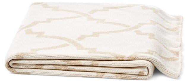 Leaf Cotton-Blend Throw, Linen
