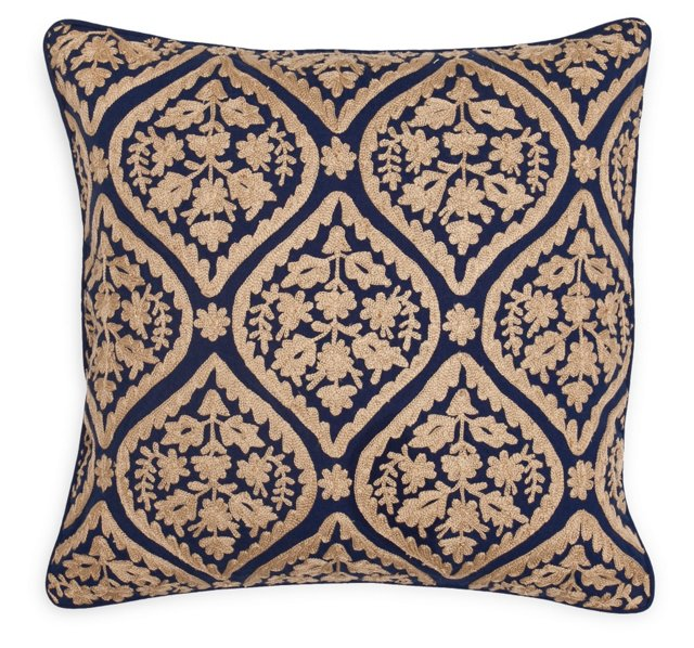 Damask 18x18 Pillow, Natural/Navy