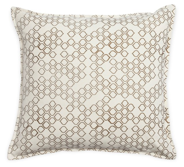 Drops 18x18 Cotton Pillow, Gold