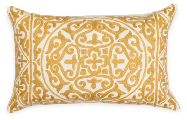 Suzani 14x22 Cotton Pillow, Gold/White