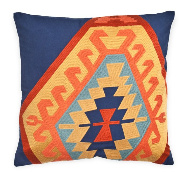 Kilim 18x18 Embroidered Pillow, Multi