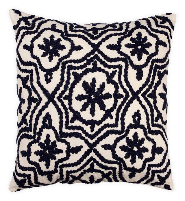 Crewel 18x18 Cotton-Blend Pillow, Navy