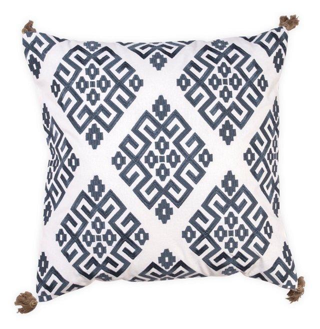 Greek Key 18x18 Pillow, Navy