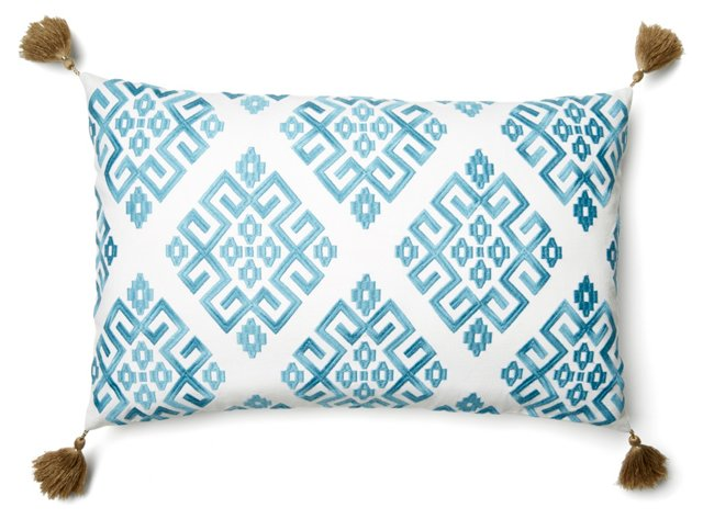 Greek Key 14x22 Pillow, Teal
