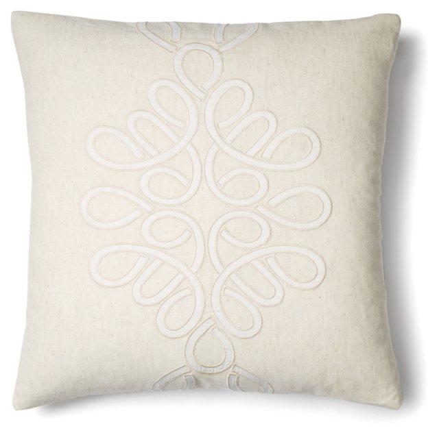 Motif 18x18 Linen-Blend Pillow, Ivory