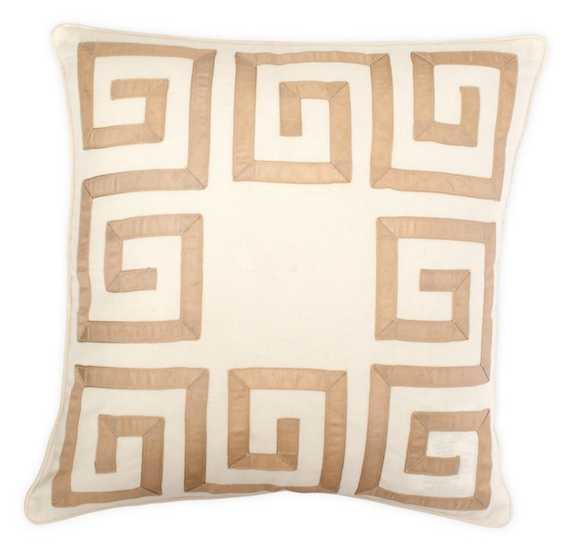 Greek Key 18x18 Pillow, Taupe