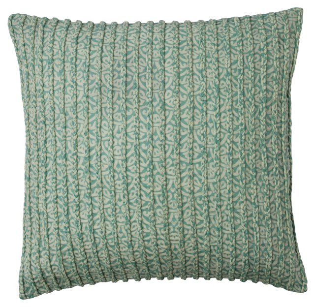 Braided 18x18 Cotton Pillow, Blue