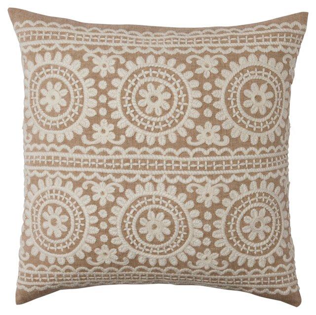 Garland 18x18 Embroidered Pillow, Linen