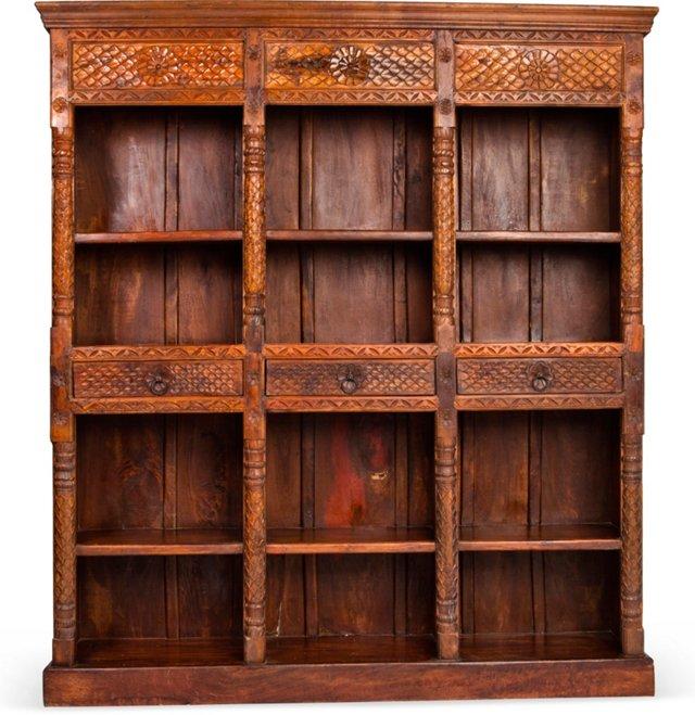 Oversize Carved Teak Bookcase