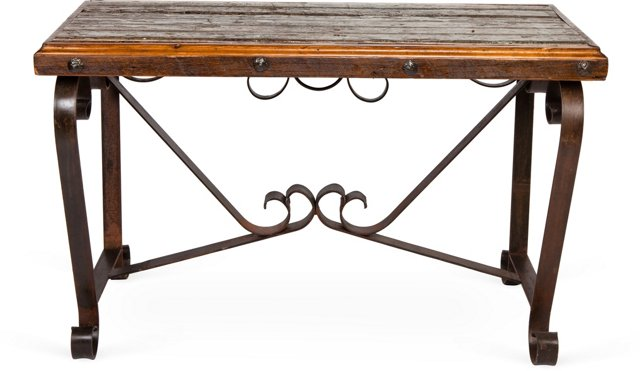 Cast Iron & Distressed Wood Console