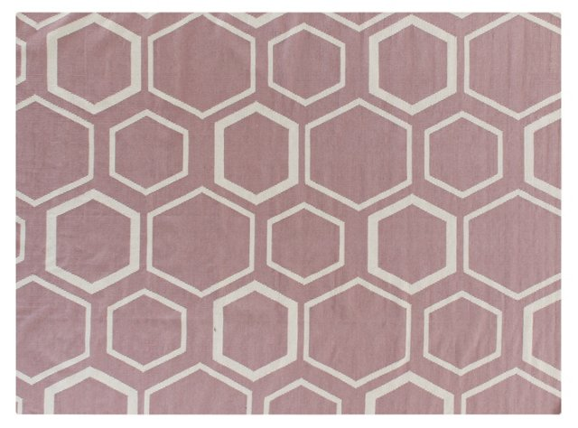 Honeycomb Dhurrie, Dusty Rose