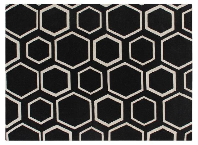 2'x3' Honeycomb Dhurrie, Black/Ivory