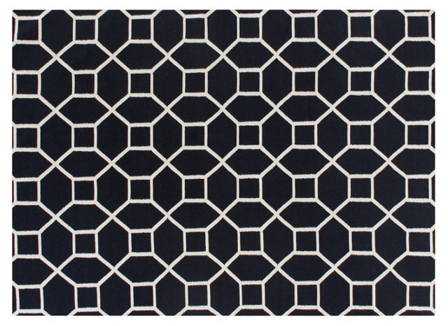2'x3' Octagon Dhurrie, Navy/White