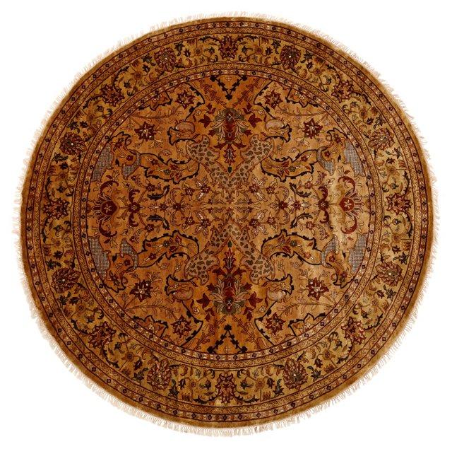 8' Round Tabriz Rug, Gold