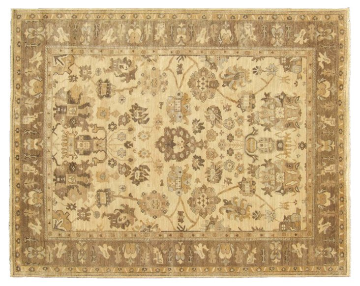 Turkish Oushak Rug, Ivory/Brown