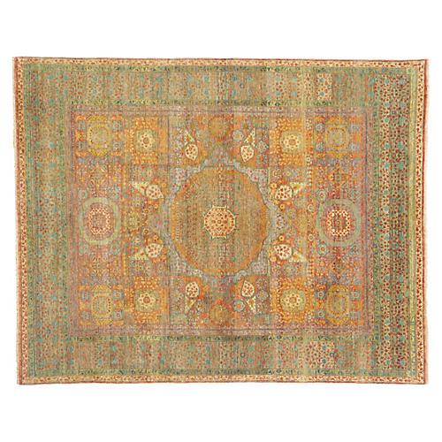 Tabriz Wool Rug Green Rust