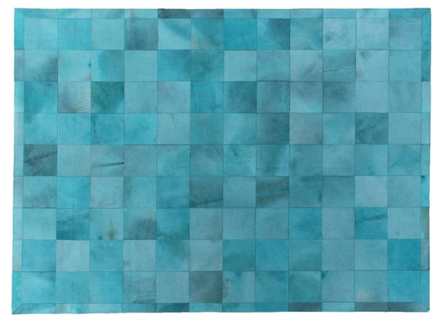 Stitched Blocks Hide, Turquoise