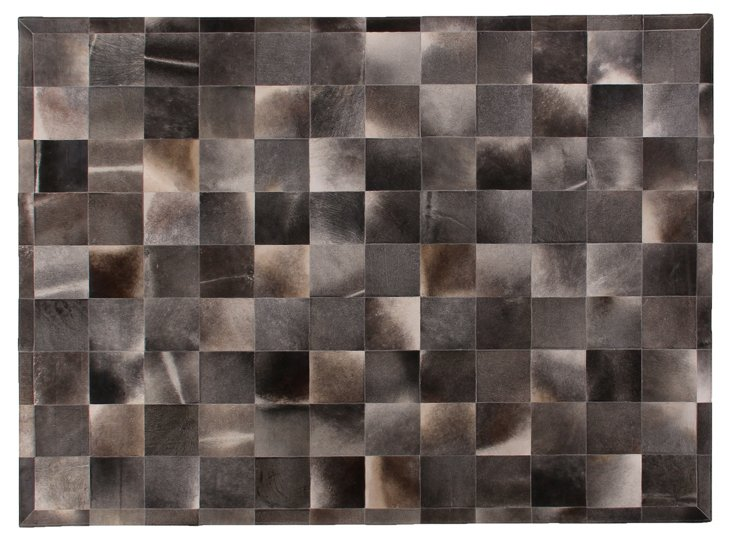 8'x11' Stitched Hide Rug, Charcoal