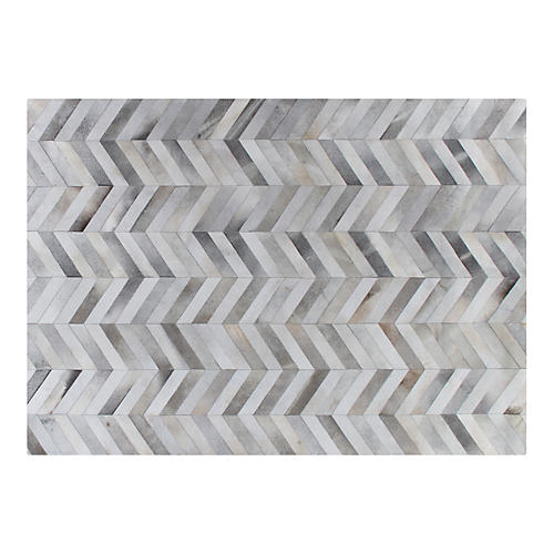 Chevron Hide, Silver/White