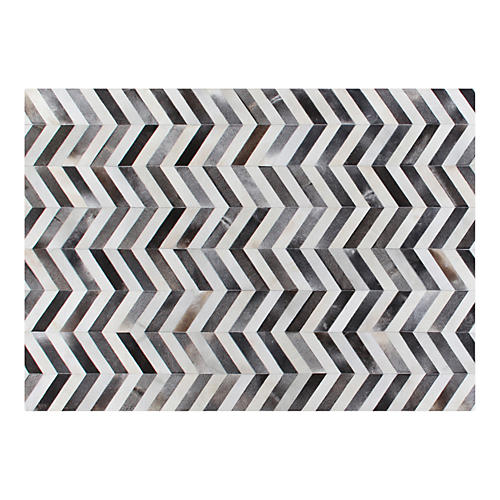 Chevron Hide, Gray/White