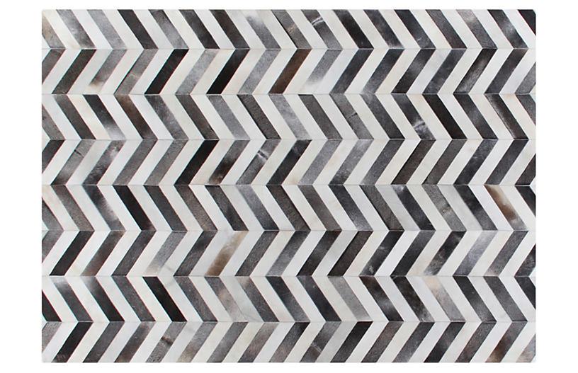 Chevron Hide, Gray/White