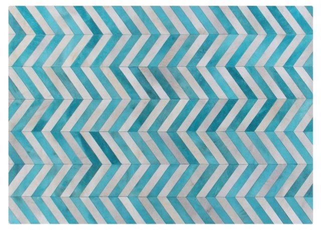 8'x11' Chevron Hide Rug, Turquoise/White