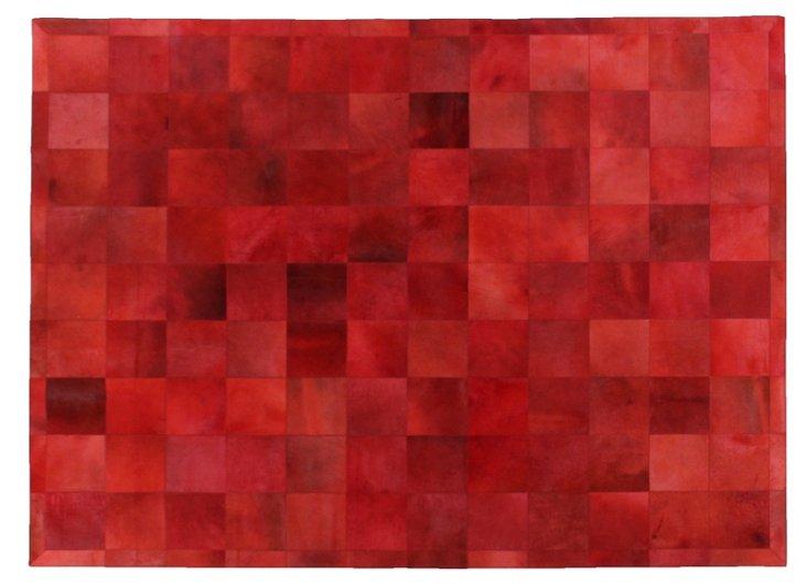 "9'6""x13'6"" Stitched Blocks Hide, Red"