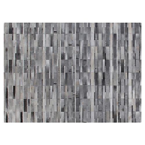 Stitched Tile Hide Rug, Gray