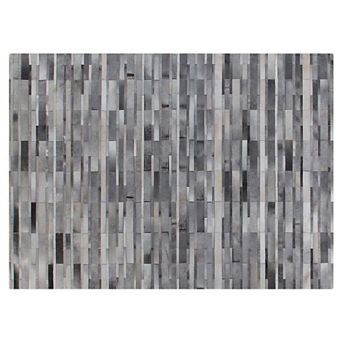 Stitched Tile Hide Rug, Gray
