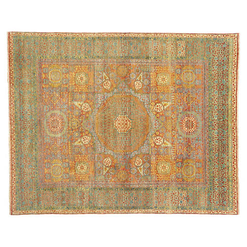 Tabriz Wool Rug, Green/Rust