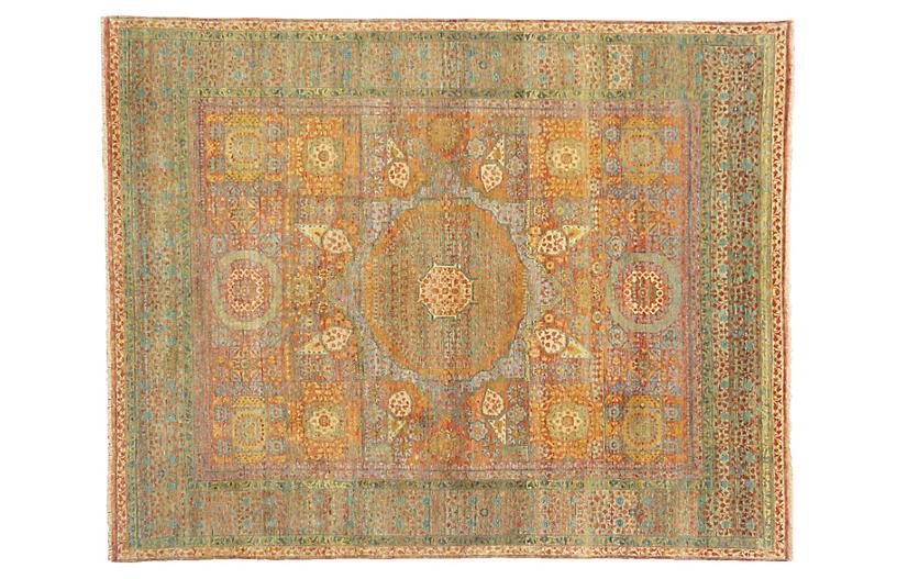Tabriz Wool Rug, Green/Rust