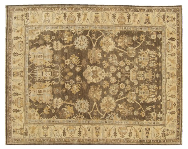 Turkish Oushak Rug, Gray/Ivory