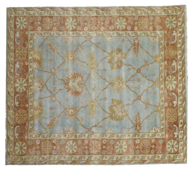 4'x6' Turkish Oushak Rug, Blue/Rust