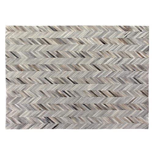 Stitched Herringbone Hide Rug, Silver