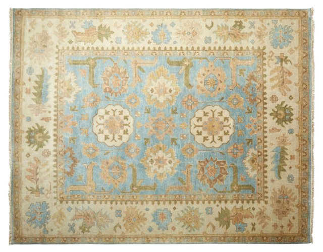 8'x10' Ottilie Oushak Rug, Light Blue