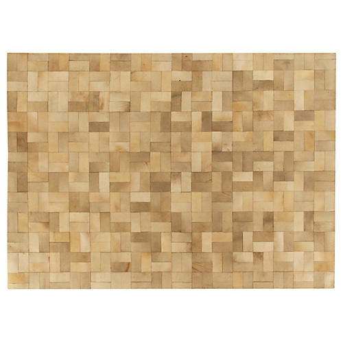 Stitched Cobblestone Hide Rug, Ivory