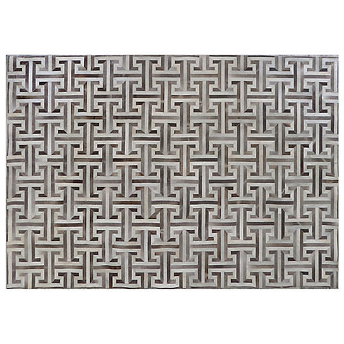 Edith Hide Rug, Gray