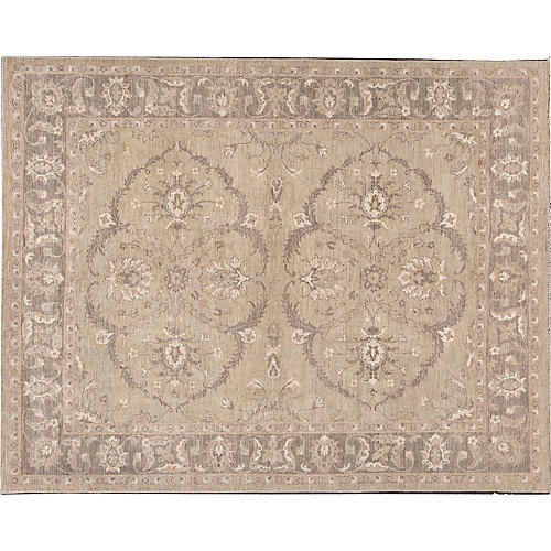 "7'10""x10'10"" Oushak Hand-Knotted Rug, Gray/Beige"