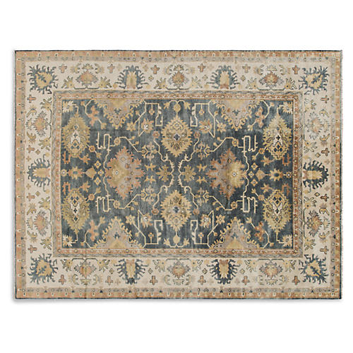 "9'2""x12'6"" Oushak Hand-Knotted Rug, Blue"