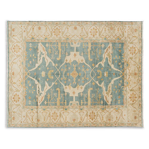 "8'9""x11'9"" Oushak Hand-Knotted Rug, Green"