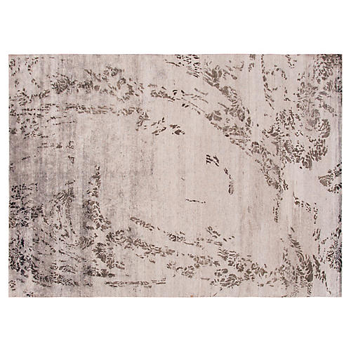 "8'8""x11'11"" Modern Hand-Knotted Rug, Gray/Coffee"