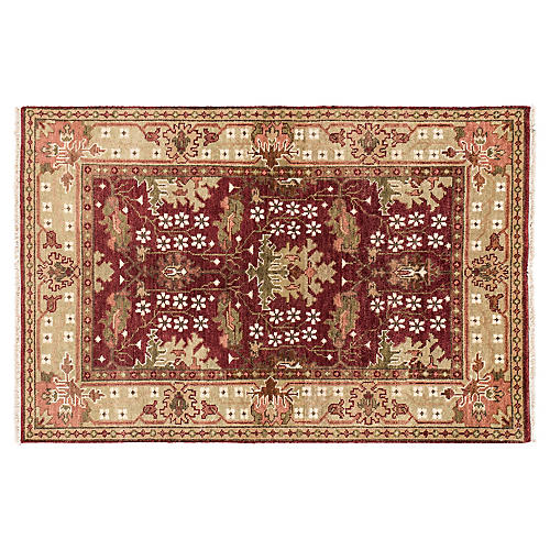 4'x6' Oushak Hand-Knotted Rug, Red