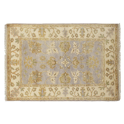 4'x6' Oushak Hand-Knotted Rug, Blue