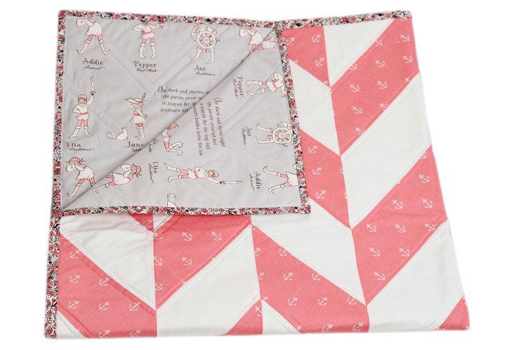 Nautical Crib Quilt, Pink