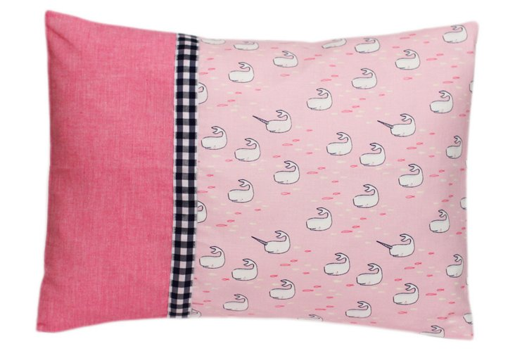 Decorative Pillow, Pink Narwhals