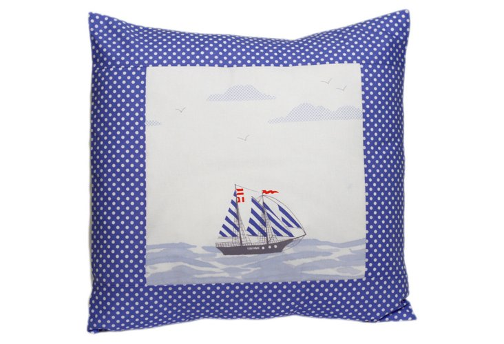 Sail Away Pillow, Blue